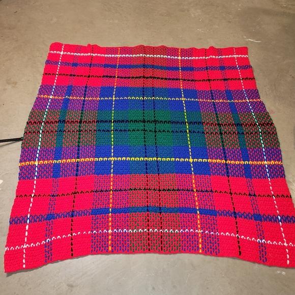 Tartan Plaid Pattern Crochet Afghan